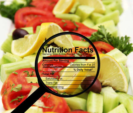 Nutrition facts on fresh salad Stock Photo