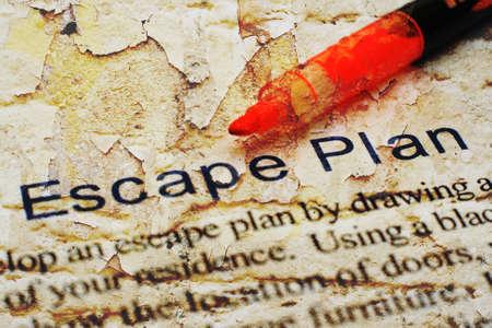 evacuate: Escape plan Stock Photo