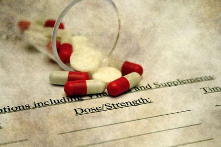 dose: Pill dose grunge concept Stock Photo
