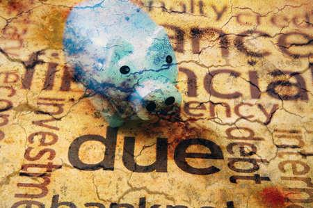 Piggy bank and debt concept photo