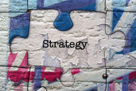 pensamiento estrategico: Concepto del rompecabezas de Estrategia Foto de archivo