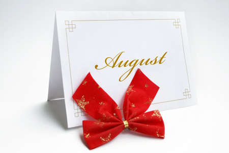 August text on greeting card isolated on white