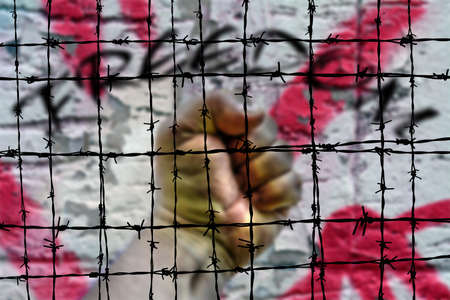 barbwire: Freedom and Barbwire concept Stock Photo