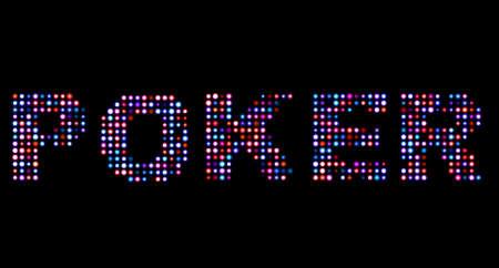 las vegas lights: Poker led text Stock Photo