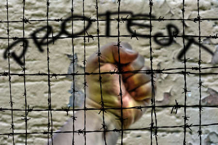 barbwire: Protest and Barbwire concept