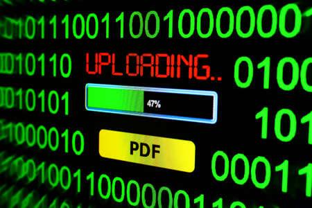 pdf: Uploading PDF Stock Photo