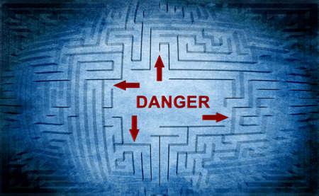 crime solving: Danger maze concept Stock Photo