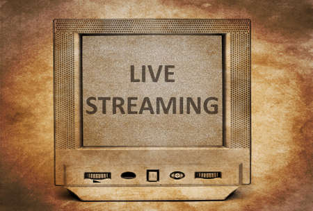 streaming: Live streaming  sign on vintage TV Stock Photo