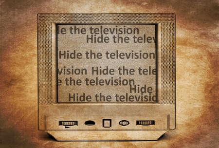 hide: Hide the TV Stock Photo