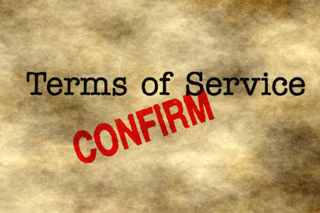 confirm confirmation: Terms of service - confirm