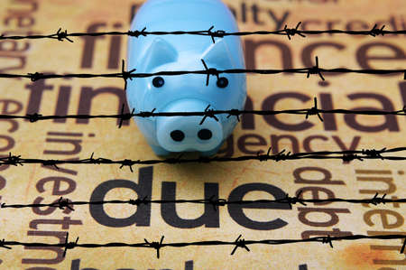 dues: Piggy bank and due concept Stock Photo