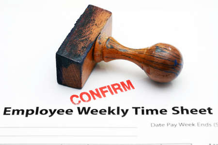 Employee time sheet - confirm Stock Photo