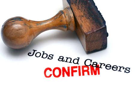 confirm: Jobs confirm Stock Photo