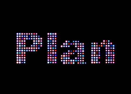 writing on screen: Plan led text