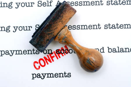 confirm confirmation: payment contract Stock Photo
