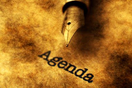 seeking assistance: Fountain pen on Agenda text