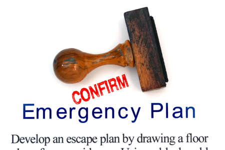 confirm confirmation: Emergency plan Stock Photo