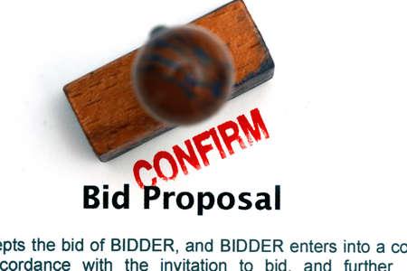 bid: Oferta formato de la propuesta Foto de archivo
