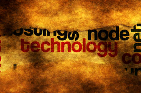 technology collage: Technology text on grunge background concept
