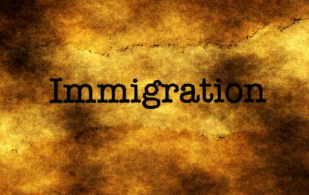 emigration immigration: Immigration grunge  concept