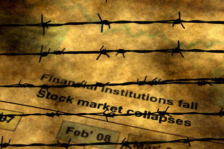 swaps: Global crisis and barbwire concept Stock Photo
