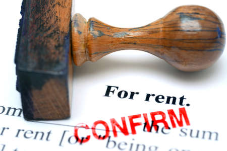 property management: For rent - confirm Stock Photo
