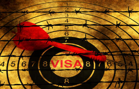 barbwire: Visa target concept against barbwire
