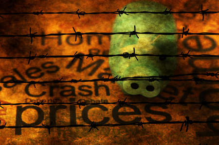 barbwire: Piggy bank and prices text against barbwire Stock Photo