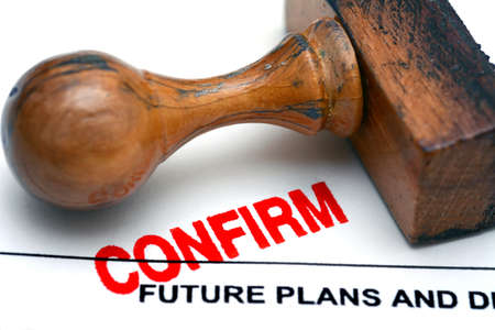confirm: Future plans confirm Stock Photo