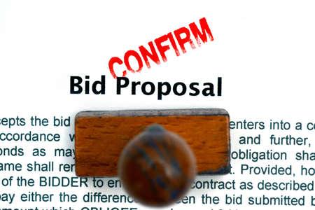 bid: Bid proposal confirm Stock Photo
