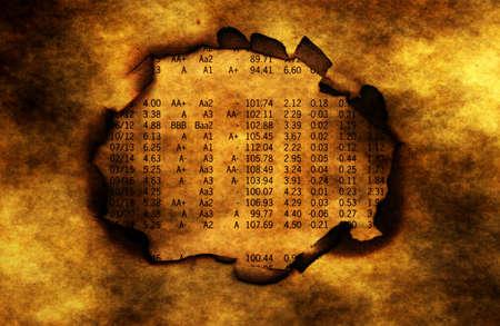 paper hole: Stock market report on burning paper hole Stock Photo