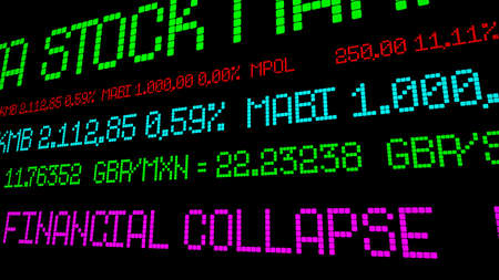 stock market crash: Financial collapse stock ticker
