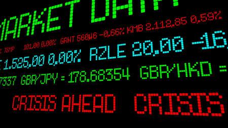 ticker: Stock ticker crisis ahead Stock Photo