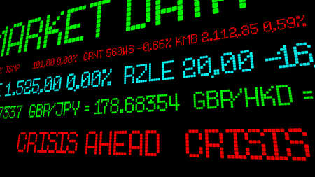 Stock ticker crisis ahead Stockfoto