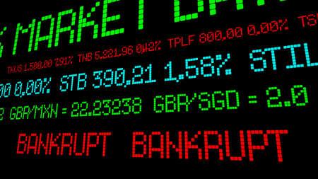 bankrupt: Stock ticker reads bankrupt
