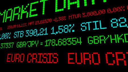 economic depression: Euro crisis ticker Stock Photo
