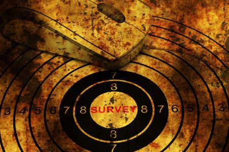web survey: Computer mouse on grunge web survey target