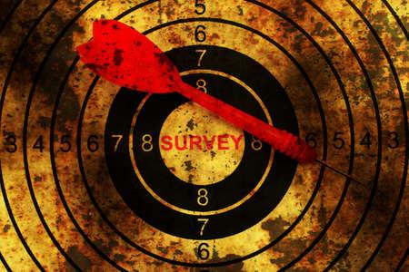 web survey: Dart on grunge web survey target Stock Photo