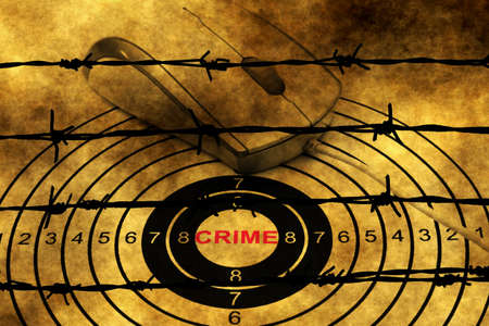 cyber warfare: Crime target concept against barbwire Stock Photo