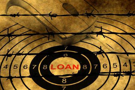 barbwire: Loan target concept against barbwire