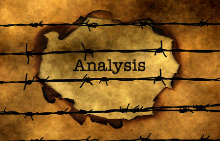 barbwire: Analysis text against barbwire Stock Photo