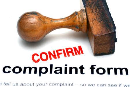 complaint: Complaint form confirm Stock Photo