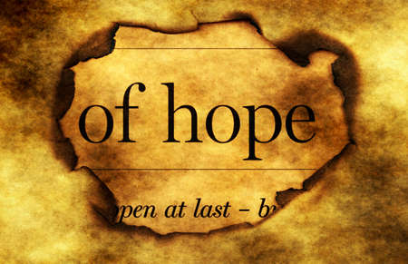 paper hole: Hope text on grunge  paper hole