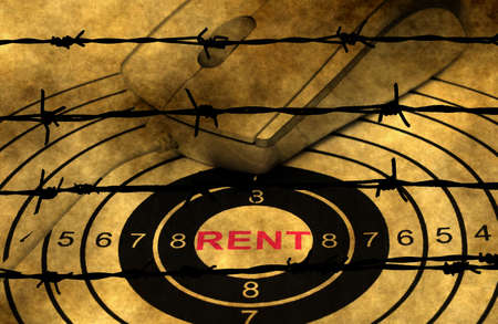 barbwire: Rent target concept against barbwire