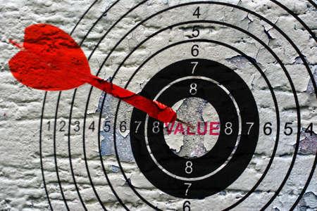 Value target grunge concept