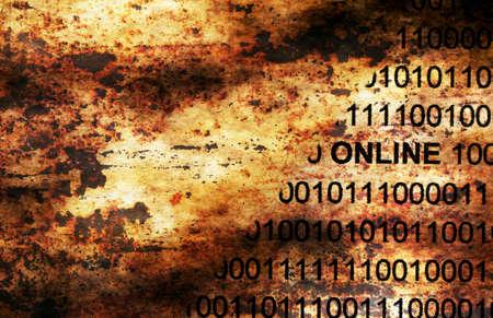 marca libros: concepto del grunge de datos en línea Foto de archivo