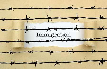 barbwire: Immigration text against barbwire Stock Photo