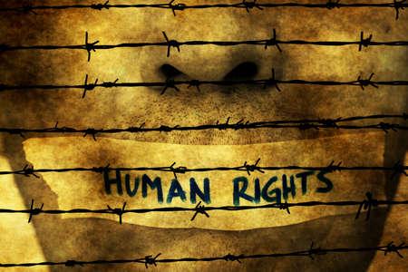 derechos humanos: Cinta de los derechos humanos sobre la boca