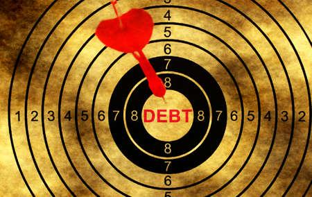 debt goals: Debt target on grunge background