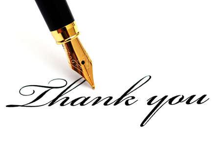 Děkuji text a plnicí pero